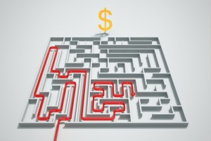 Red arrow leads to gold dollar icon in a maze.